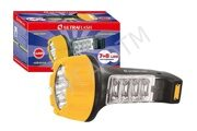 Фонарь LED 3818 220В, черн/желт, 7+8LED Ultraflash 321974